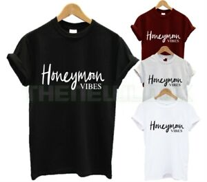 NEW HONEYMOON VIBES T SHIRT NEWLY WED COUPLES WEDDING HUBBY WIFEY MARRIAGE NEW