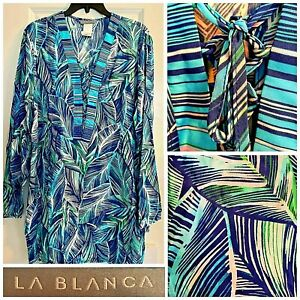 NWT $104 La Blanca MED Blue Tropical Leaf Print Lace Up Swim Cover Up Long Slvs