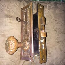 Antique P&F Corbin Empire. Bronze Entry Mortise Lock & Key,  Doorknobs, plates