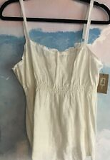 Pure DKNY cami in 100% Linen in off white, size 14