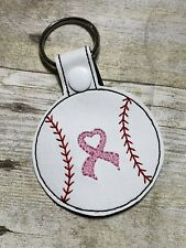 Baseball Breast Awareness cancer Pink Ribbon Key Chain FREE SHIPPING