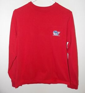 Boys Vineyard Vines Long-Sleeve Pro Hockey Whale Pocket T-Shirt Red X-Large