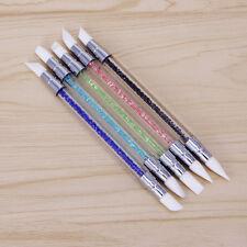 5Pcs Nail Art Brush 2 Way Nail Art Sculpture Pen Silicone Carving Craft Portable