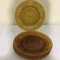 4 Indiana Glass Amber Tiara Sandwich Glass Luncheon Plates 8 1/4""