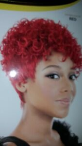 Motown Tress Synthetic WigNori Black with Burgundy Highlights Short Curly on Top