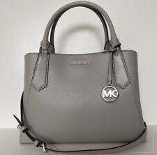 New Michael Kors Kimberly Large Satchel handbag Leather Pearl Grey