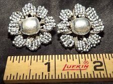 Vintage Miriam Haskell Clip Earrings Baroque Faux Pearl Seed Bead Filigree Sign