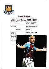 DEAN ASHTON WEST HAM UNITED 2005-2009 ORIGINAL HAND SIGNED MAGAZINE CUTTING