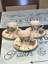 3 Tea Cup and Saucer, Vintage, Purple Flowers, Made in Japan