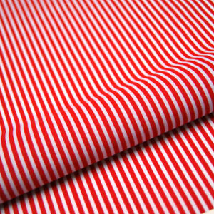 Red Stripe Polycotton Fabric Striped Lines Material Craft 3mm Per METRE