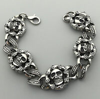 """Gothic Men's Biker Silver Stainless Steel Skull Link Chain Punk Bracelet 8"""""""