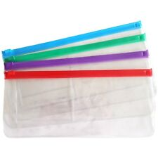 2 x Clear Plastic Zip Bags ~ Storage Toiletry Travel Pencil Case See-Through PVC