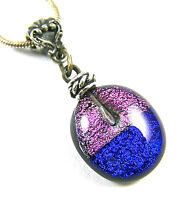 DICHROIC PENDANT Fused Glass Cobalt Blue Pink Magenta Beaded Silver Pewter Bail