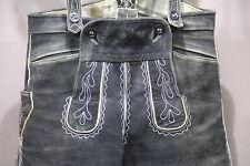 3/4 schwarze bayerische bestickte  Lederhose mit Träger