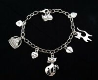 Cats Handmade Silver Tone Charm Bracelet with Various Cat Charms