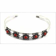 Silver Jewelry Cuff-Bracelet 7''Adjustable Red Coral Gemstone Fashion Ethnic