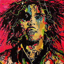 Alec Monopoly Oil Painting on Canvas Graffiti art wall decor Bob Marley 28x28""