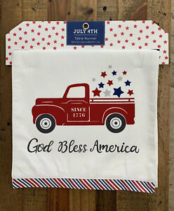 God Bless America table runner patriotic 4th of July farmhouse truck stars NWT