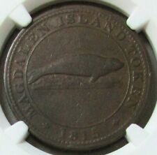 1815 CANADA MAGDALEN ISLAND ONE PENNY FISHERY SIR ISAAC COFFIN NGC VF 20 BN LC-1