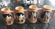 Set of 4 Ceramic Beer Steins Mugs Bar Ware, Made in Japan, Vintage