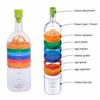 Flasche mit Küchenutensilien 8 Geräte in einem Trichter Reibe Presse Schneider