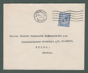 1923 GB - GV 2½d with H.L. perfin used on cover from London to Germany (P768)