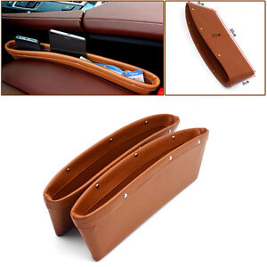 2PCS Brown PU Leather Catcher Box Caddy Car Seat Gap Slit Pocket High Quality