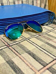 Ray-Ban Aviator Sunglasses RB3025 58mm 112/17 Gold / Mirrored Blue Flash Lenses