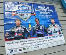 """NASCAR PROMOTIONAL BANNER HUGE POSTER 58""""X48"""" LOWES HOME IMPROVEMENT DALE JR"""