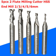 5pz 2 Flauto Trapano Punte 2/3/4/5/6mm HSS End Mill Milling Cutter CNC Engraving