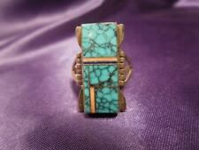 Estate Navajo Turquoise Inlay Sterling Silver A. Yazzie Signed Ring, Size 6.5