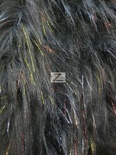 FAUX FAKE FUR SOLID SHINY TINSEL LONG PILE FABRIC - Black Multi - SOLD BTY