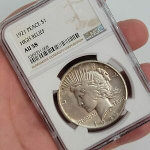 1921 High Relief Peace US Silver $1 Dollar NGC AU58 Graded Certified Free Ship