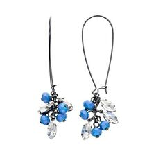 NEW! Simply VERA WANG Pearlescent Blue & Crystal French Wire Earrings FREE SHIP