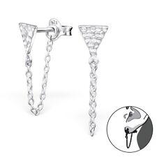 Argento Sterling 925 MARTELLATO triangolo & Catena Orecchio Giacca/doppia degli orecchini