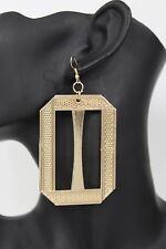 New Women Gold Square Dangle Long Earrings Set Fashion Metal Cut Out Plate Hook