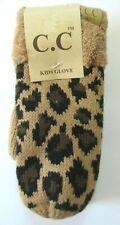 CC Kids Cheetah Animal Print Lined Mitten Gloves Size M/L NWT