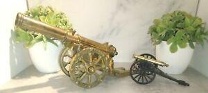 2 Beautiful Antique/Vintage-Solid Bronze/Brass Decorative Cannon Art/Statue
