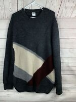 Zara Man Mens XL Sweater Chunky Cable Knit color block  Long Sleeve Wool blend