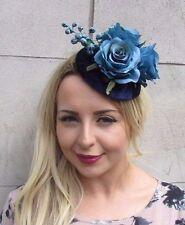 Navy Turquoise Blue Velvet Rose Berry Flower Fascinator Hat Vtg Races 1950s 3126