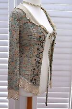 Intrama Beige Patterned Open Cardigan with Metallic Beading - Size L/XL (UK 14)