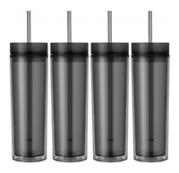 Set of 4 Tall Skinny Acrylic Tumbler Double Wall 16 Oz (Smoke Color)