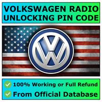 Código de radio VWRCD 200 210 215 300 310 500 510 Gamma RNS 310 315