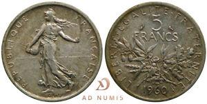 Monnaie fautée (débris interposé) 5 francs 1960 Semeuse France - Argent