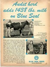 1970 Print Ad of Blue Seal Feeds Magliore Audet Cattle Herd Orwell Vermont