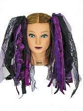 Dreadful Falls Black & Eggplant Magenta Purple Ribbon Gothic Fairy Hair Falls