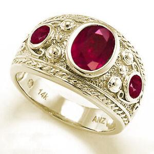 Men's Genuine Ruby Three-Stones Ring 14k Yellow Gold Ring 7 to 14 $2.495