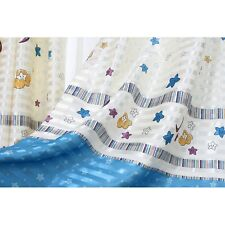 A Pair Blue Boys/Girls Nursery Star & Moon Pattern Curtains+Tie Backs 66 x 78''
