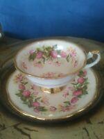 VINTAGE - RARE - UNIQUE ROSINA Cream Floral Tea Cup & Saucer. EUC. Gold - Mint !