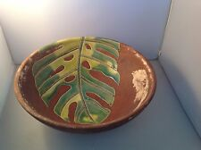 Zodax Made In Vietnam Brown Earthenware Bowl Leaf Motif